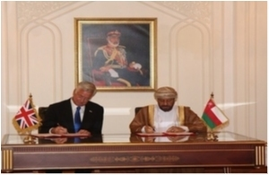 Defence Secretary Sir Michael Fallon signs an agreement on defence cooperation with His Excellency Sayyid Badr bin Saud bin Harib Al Busaidi