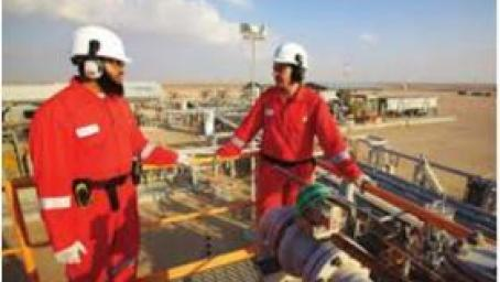 Workers at the Khazzan natural gas field